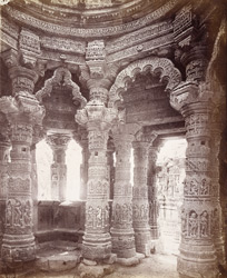 Interior of the Gudha Mandapa, Surya Temple, Modhera 1903